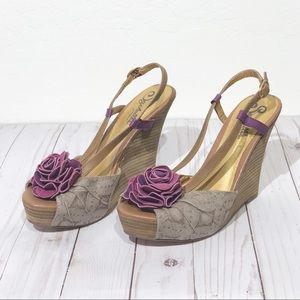 Seychelles Wedge Heels 7.5 Purple Rose Sandals